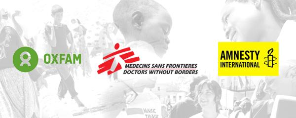 Amnesty, Médecins Sans frontières, Oxfam Solidarité
